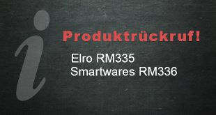Produktrückruf: Elro RM335 und Smartwares RM336