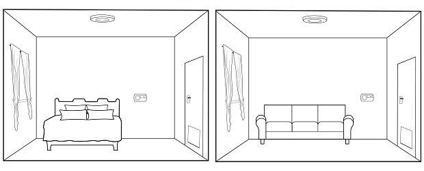 Kohlenmonoxidmelder im Schlafzimmer und Räumen ohne Brennstätten